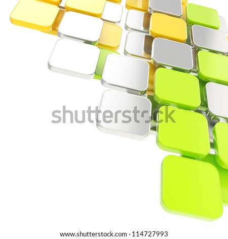 Abstract copyspace glossy chrome metal, green and yellow plate composition background over white with the space for your text - stock photo