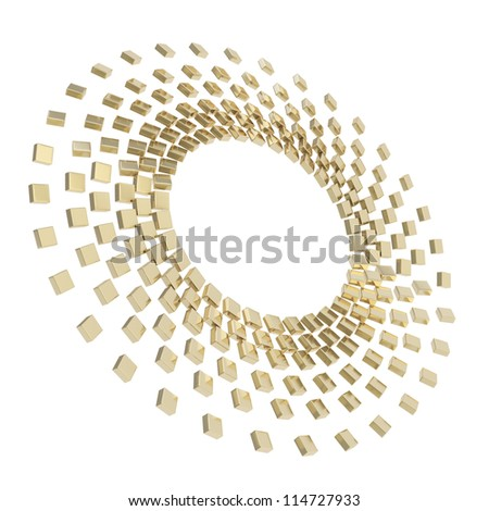 Abstract copyspace round frame golden glossy reflection cube composition isolated on white background - stock photo