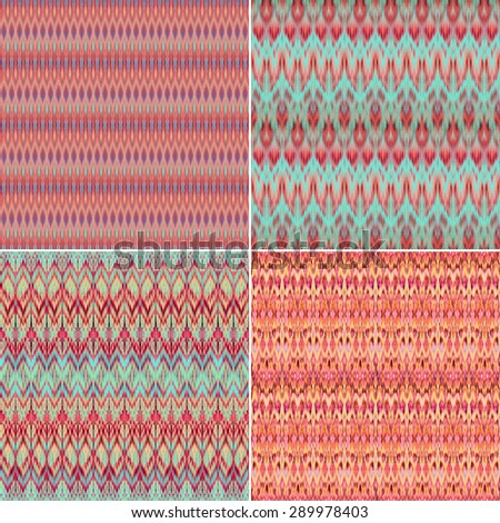 abstract coral red pattern textures, intricate ethnic textile backgrounds set - stock photo