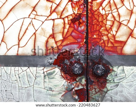 abstract corroded colorful wallpaper grunge background iron rusty artistic wall peeling paint. Please visit my gallery to find more similar photos. - stock photo