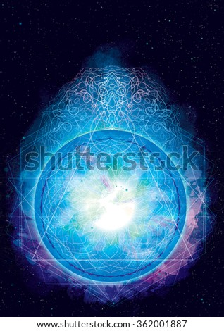 Abstract cosmic background with blue round mandala ornament - stock photo