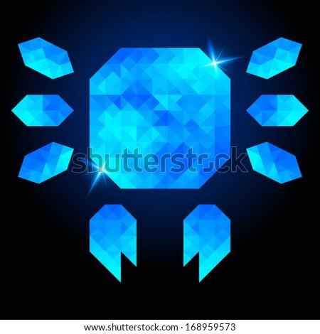 Abstract crab on dark background. Polygonal design - stock photo