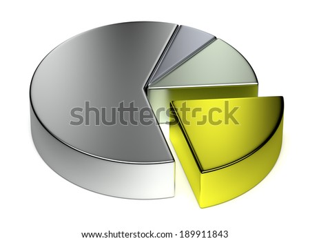 Abstract creative business statistics, financial analysis, precious metal trading concept: metallic 3D pie chart on white background - stock photo