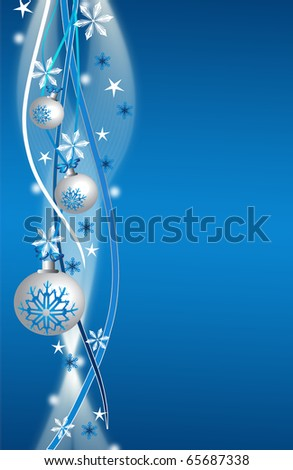 abstract creative christmas balls illustration with stars snow blue white silver - stock photo