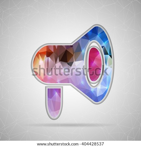 Abstract Creative concept icon of megaphone for Web and Mobile Applications isolated on background. illustration template design, Business infographic and social media, origami icons. - stock photo