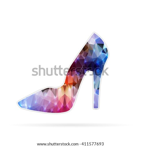 Abstract Creative concept icon of right shoe for Web and Mobile Applications isolated on background. illustration template design, Business infographic and social media, origami icons. - stock photo