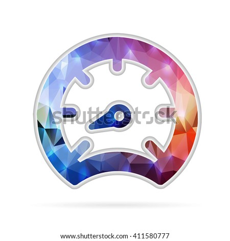 Abstract Creative concept icon of speedometer for Web and Mobile Applications isolated on background. illustration template design, Business infographic and social media, origami icons. - stock photo