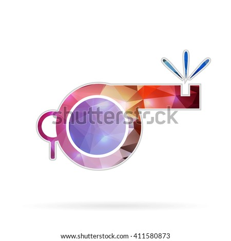 Abstract Creative concept icon of whistle for Web and Mobile Applications isolated on background. illustration template design, Business infographic and social media, origami icons. - stock photo