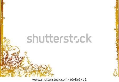 abstract creative romantic ice flower christmas card Illustration flowers stars snowflakes snow gold yellow white - stock photo