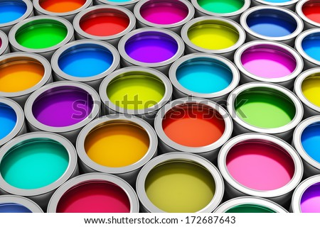 Abstract creativity concept: group of tin metal cans with color paint dye - stock photo