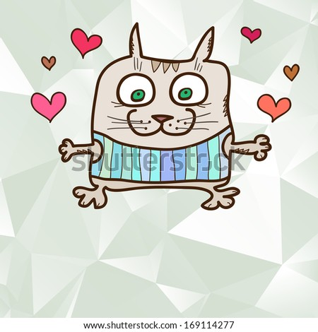 Abstract crystal greeting card with hand drawn crazy cat - stock photo