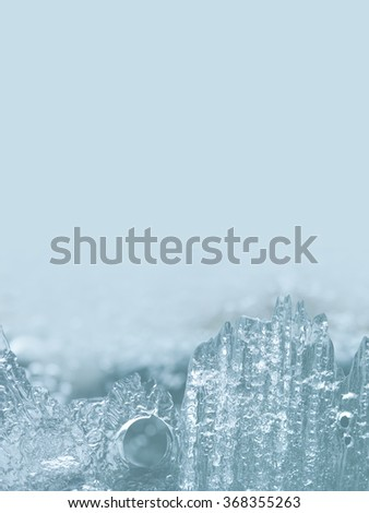 Abstract crystal ice landscape. Winter scene. Frozen icy template. Winter seasonal background. macro view, soft focus - stock photo