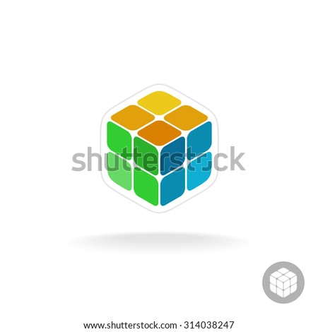 Abstract cube box logo. Digital colorful particles sign. - stock photo
