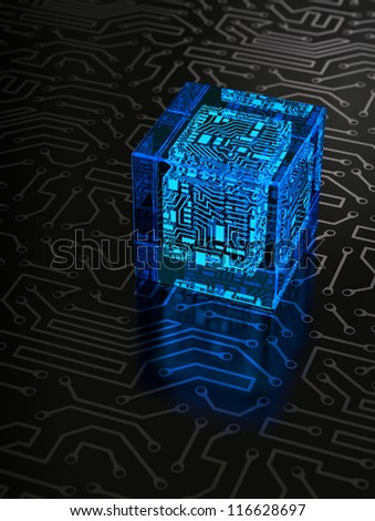 Abstract Cube on Dark Background. Technology Concept - stock photo