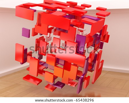 Abstract cubes in the hall. - stock photo
