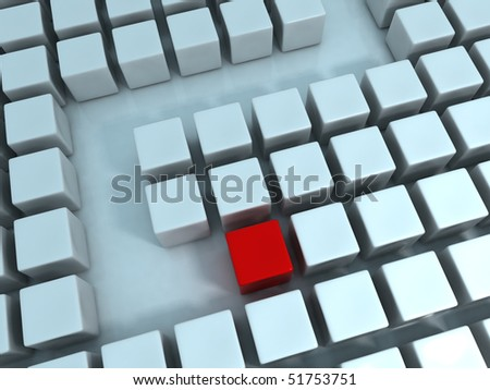 Abstract Cubes Maze - stock photo