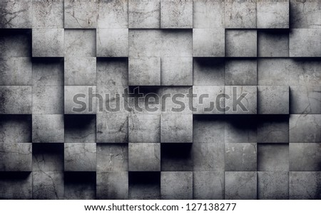 Abstract cubes on concrete wall - stock photo