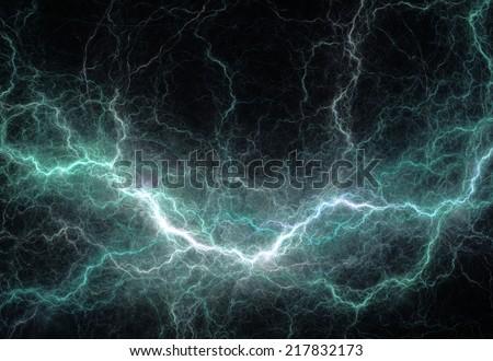 Abstract cyan lightning - stock photo