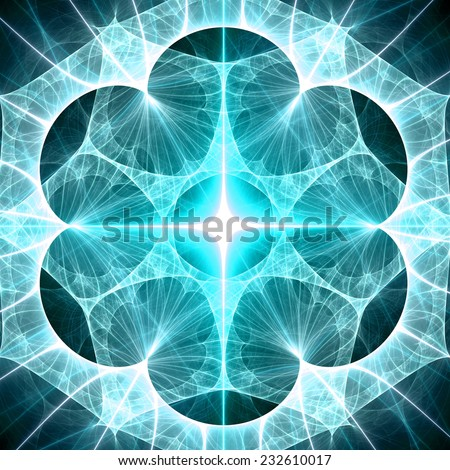 Abstract cyan star explosion background in high resolution with a detailed decorative corona surrounding it - stock photo
