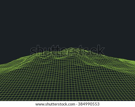 Abstract cyberspace landscape background. Cyberspace grid. 3d technology cyberspace grid. Light technology background for computer graphic. Futuristic technology. Three-dimensional abstract  - stock photo