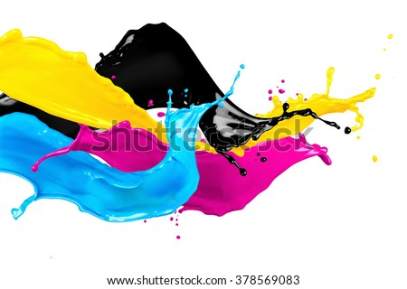 abstract CYMK color splash isolated on white background - stock photo