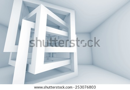 Abstract 3d architecture background. White chaotic braced cube constructions with blue shadows - stock photo