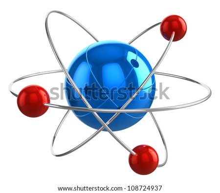 Abstract 3D atom model isolated on white background - stock photo
