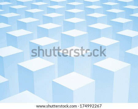 Abstract 3d background with array of identical blue boxes - stock photo