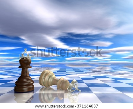 Abstract 3d background with chess pieces. - stock photo