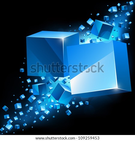 Abstract 3D background with cubes and place for text. - stock photo
