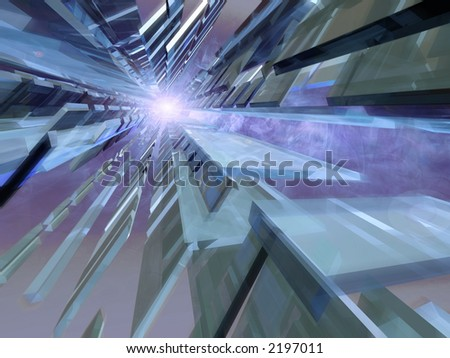 Abstract 3d blue space with smoke and sun - stock photo