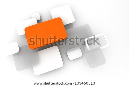 Abstract 3D box render Background Technology orange Color bubble for Text - stock photo