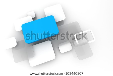 Abstract 3D box render Background Technology sky blue Color bubble for Text - stock photo