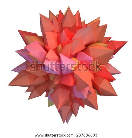 Abstract 3D crystal on white background - stock photo