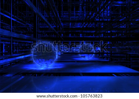Abstract 3D dark blue space with balls available for background - stock photo