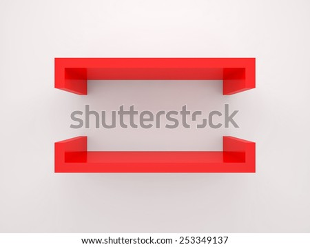 Abstract 3d design element, empty red shelf with soft shadow mounted on the wall - stock photo