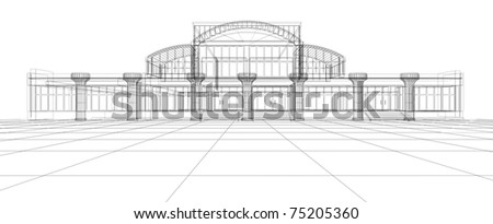 Abstract 3D design sketch of office building - stock photo