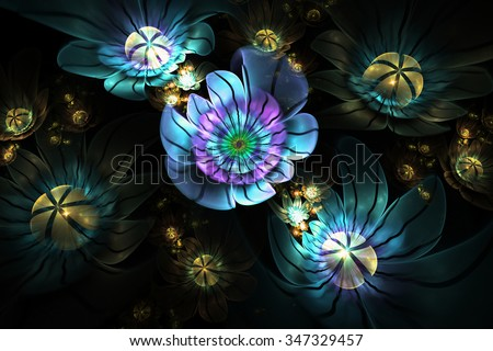 Abstract 3d flowers on black background. Computer-generated fractal in blue, violet, yellow and faded green colors. - stock photo