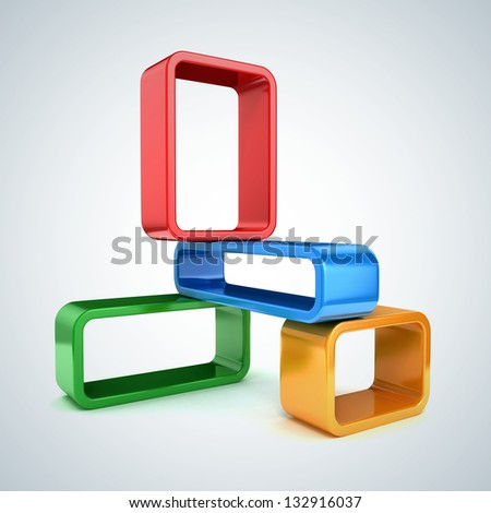 Abstract 3d frames - stock photo