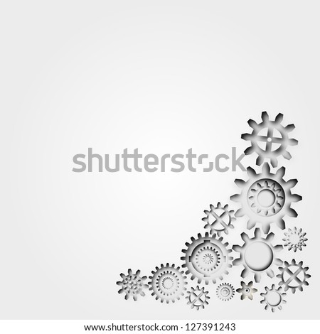 Abstract 3d gears industrial or technology background with copyspace - stock photo