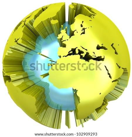 Abstract 3D Globe. - stock photo