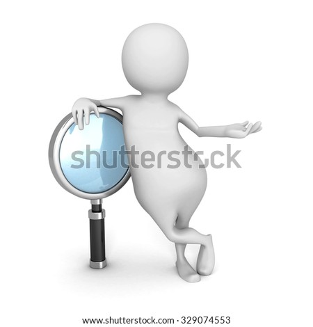 Abstract 3d Human With Magnifier Glass. 3d Render Illustration - stock photo