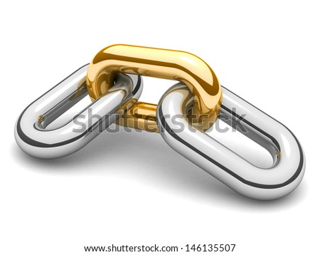 Abstract 3D illustration of a single chain link isolated on white background. - stock photo