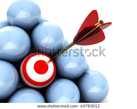 abstract 3d illustration of balls with one target and arrow - stock photo