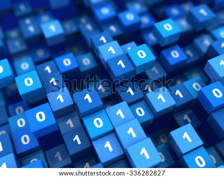 abstract 3d illustration of binary code cubes background - stock photo