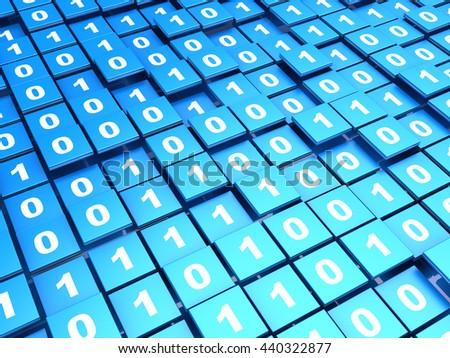 abstract 3d illustration of binary data - stock photo