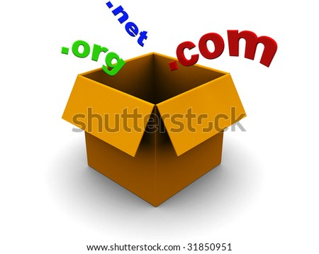abstract 3d illustration of box and domains signs - stock photo