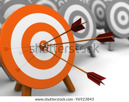 abstract 3d illustration of darts target, right target concept - stock photo