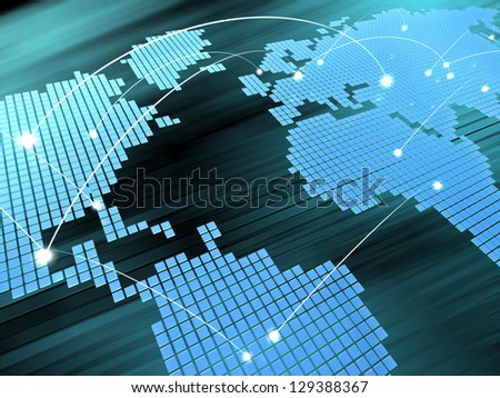abstract 3d illustration of digital map background, blue colors - stock photo