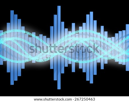 abstract 3d illustration of digital sound wave and spectrum - stock photo